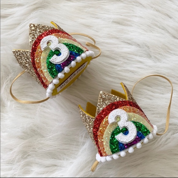 Little Blue Olive Other - Rainbow Glitter 3rd Birthday Crowns Set Of 2
